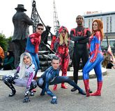 Cosplay. Group of Super hero`s. MCM Comic Con. London. The MCM Comic Con Event in London is due to take place on 24th-25th May 2019. This group image image of royalty free stock image