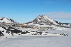 McMurdo Station, Antarctica. Aerial view of McMurdo station, operated by the United States Antarctic Program. Behind is Observation Hill used by the Scott Royalty Free Stock Photo
