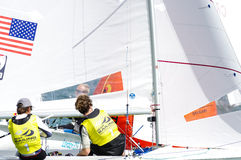 McNay & Hughes medal in the 470 class at the ISAF Sailing World Stock Photos
