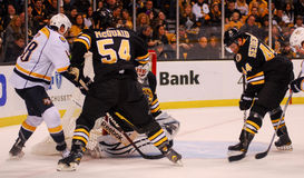 McQuaid, Seidenberg et Thomas (Boston Bruins) Photos libres de droits