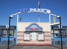 MCU-Baseballstadionsticketstand im Coney Island-Abschnitt von Brooklyn Lizenzfreie Stockfotos