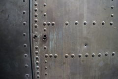 MCU Detail of rivet pattern on captured USAF aircraft in Vietnam with missing rivets Royalty Free Stock Photography