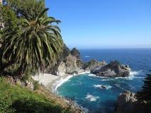 McWay在大瑟尔,加利福尼亚跌倒 免版税库存照片