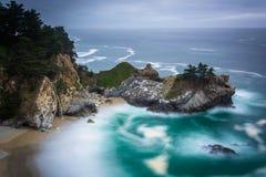 McWay秋天和太平洋长的曝光  库存图片