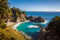 McWay跌倒在日落,大瑟尔,加利福尼亚,美国 免版税库存照片