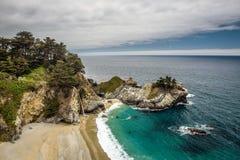 McWay faller på Stillahavskustenhuvudvägen, den stora Sur delstatsparken, Califo Fotografering för Bildbyråer