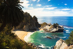McWay Falls, Sea cliff. The famous sea cliff in highway 1 royalty free stock photography