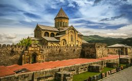Mcxeta Христианский монастырь в Georgia стоковые фотографии rf