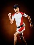 Mężczyzna biegacza triathlon działający ironman Obraz Royalty Free