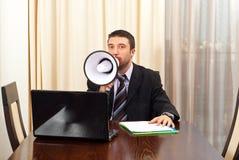 mężczyzna kierownika megafon Fotografia Stock
