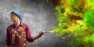 Mężczyzna malarz Obrazy Royalty Free