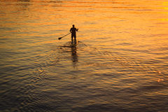 Mężczyzna na paddleboard w sylwetce Zdjęcia Stock