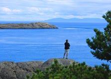 Mężczyzna oceanu Wiktoria kolumbiowie brytyjska Kanada Fotografia Royalty Free