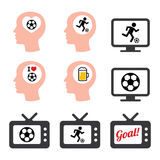 Mężczyzna piłki nożnej lub futbolu kochające ikony ustawiać Zdjęcie Stock