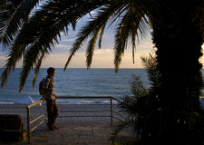 Mężczyzna pod drzewkiem palmowym podczas zmierzchu Obraz Royalty Free