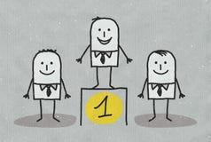 Mężczyzna pozycja na liczby jeden podium Obraz Stock