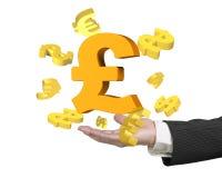 Mężczyzna ręka pokazuje funtowego szterlinga symbol z dolarowymi euro znakami Zdjęcie Stock