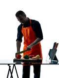 Mężczyzna szefa kuchni kulinarna sylwetka odizolowywająca Zdjęcie Stock