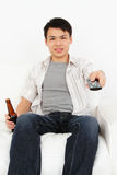mężczyzna tv dopatrywanie Fotografia Stock