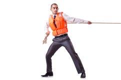 Mężczyzna w kamizelce ratunkowej Zdjęcia Stock