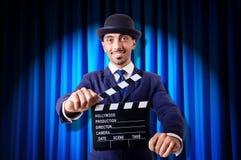 Mężczyzna z filmu clapper Zdjęcie Stock