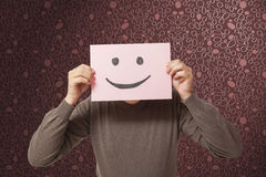 Mężczyzna z śmieszny twarzy ono uśmiecha się Zdjęcia Stock