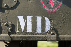 MD on army car Stock Image