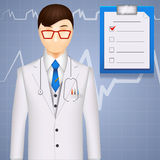 MD or cardiologist on a cardiogram background Stock Photography