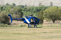 MD Helicopters 369E during Los Angeles American Heroes Air Show Royalty Free Stock Image