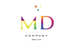 md m d creative rainbow colors alphabet letter logo icon stock illustration