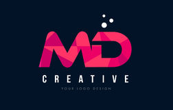 MD M D Letter Logo with Purple Low Poly Pink Triangles Concept stock illustration