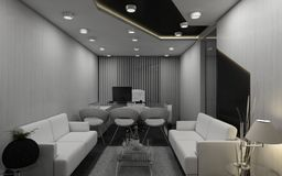 MD Room 3D. Monochrome colors are the current trend to describe modernity which is the key preference of the younger minds Stock Photo