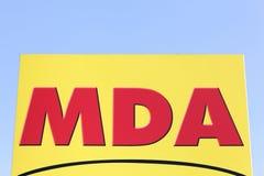 MDA-embleem op een paneel Stock Foto