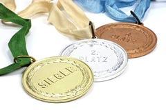 Médailles d'or, argentées et de bronze Images libres de droits