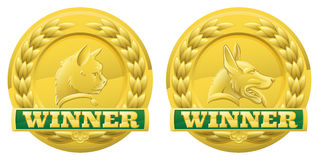 Médailles de gagnants d'animal familier de chat et de crabot Images stock