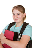 Mädchen betriebsbereit zur Hochschule Stockbilder