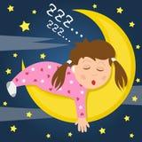 Mädchen, das auf dem Mond schläft Stockbilder