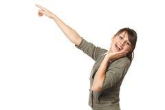 Mädchen, das auf Exemplarplatz zeigt Lizenzfreies Stockbild