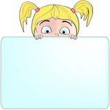 Mädchen, das ein unbelegtes Zeichen für Ihre Meldung anhält Lizenzfreies Stockbild