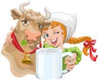 Mädchen, das eine Kuh und einen Landwirt halten eine Schale Milch umarmt Stockbild