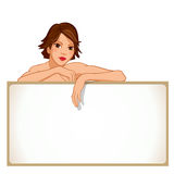 Mädchen, das an einem leeren Brett sich lehnt Lizenzfreie Stockbilder