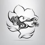 Mädchen, das in einer Blume schläft. Vektorillustration Lizenzfreies Stockbild