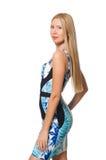 Mädchen des blonden Haares im mini blauen Kleid an lokalisiert Stockbilder