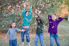 Mädchen, die in den Blättern spielen Stockbild