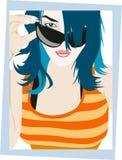 Mädchen-Glas-Portrait reizvoll Stockfotos
