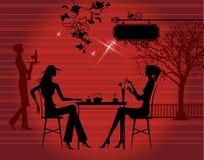Mädchen im Kaffee Stockfotos