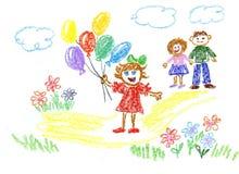 Mädchen mit Ballone Lizenzfreie Stockbilder