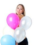 Mädchen mit Ballons Lizenzfreies Stockbild