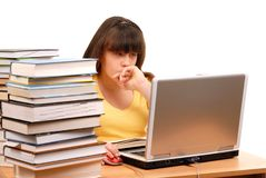 Mädchen mit Computer Stockfotos