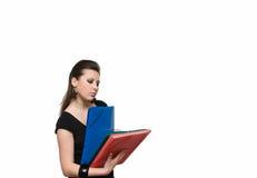Mädchen mit Datei Lizenzfreies Stockfoto